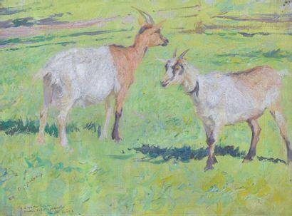 BURNAND Eugène (1850-1921). Deux chèvres...
