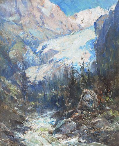 NOIROT Émile (1853-1924). Le chemin du glacier...
