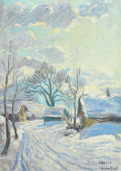 HABERKORN Fritz (1898-1969). Chemin enneigé...