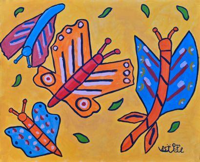 BAYA (1931-1998). Papillons, 1985. Gouache...