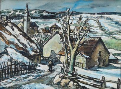 MÉNÉTRIER Émile (1893-1980). Fin d'hiver...
