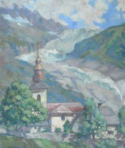 ESSLINGER Willy (1904-1983). Glacier et village...