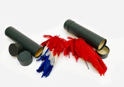 Deux boites de plumet, un rouge et un bl...