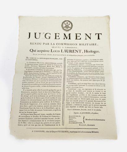 Affiche de jugement révolutionnaire époque...