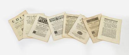 Lot de 9 Déclarations, édits lettres patentes...