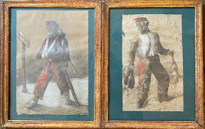 Paire de dessins aquarellés de deux militaires...