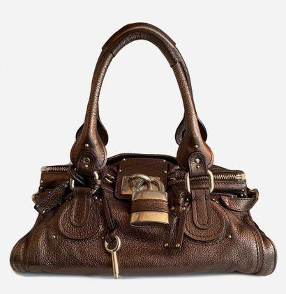 CHLOE. Sac Paddington en cuir couleur bronze...