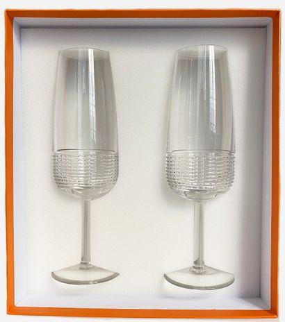 HERMES. Deux flûtes à champagne modèle Intervalle,...