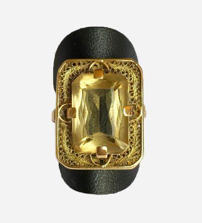 Bague en or jaune 750/1000 sertie d'une...