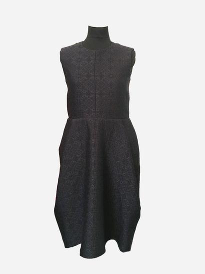 CELINE. Robe en laine (60%) damassée de...