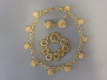 Ivory necklace, bracelet, brooch and pen...