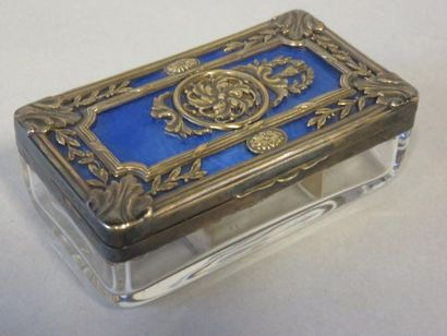 Glass stamp box. Lid in openwork silver with...
