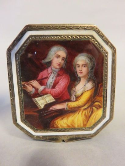 Small octagonal silver box engraved and vermeil...