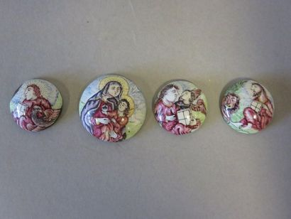 Four small round and curved enamel plaques...