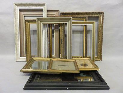 Set of nine frames, framed photo and two...
