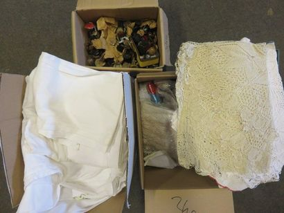 Three sheet handles, buttons, lace.