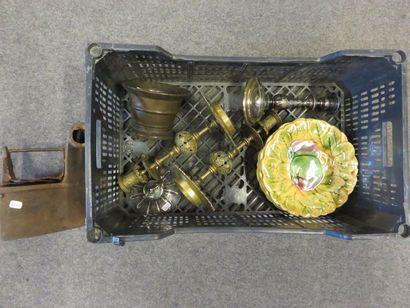 Iron handle, metal lid, mortar, three metal...