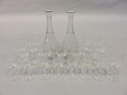 Glasses serving handle, two carafes, twelve...