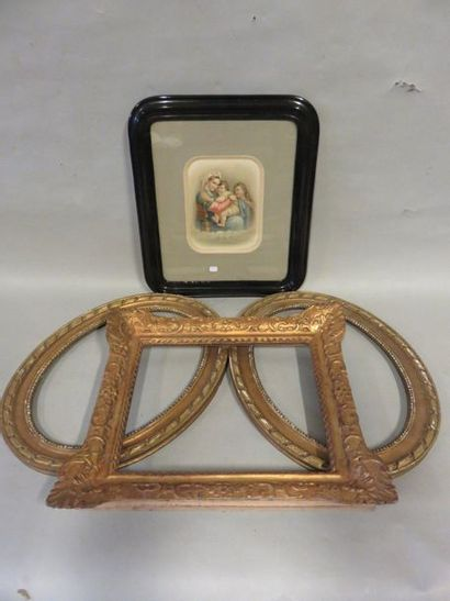 Three-frame lever and framed pious picture...