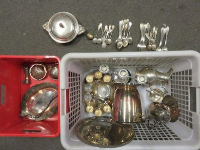 Two silver plated metal handles, bucket in...