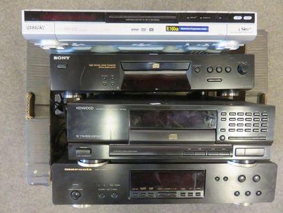 Marantz turntable, Kenwood CD player, Sony...