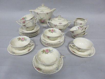 Service à thé en porcelaine de Limoges Lanternier,...