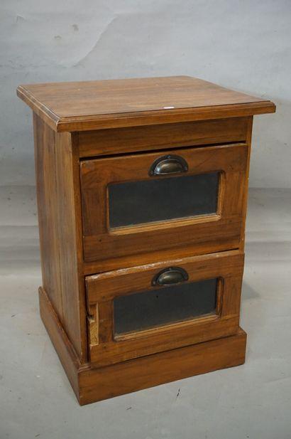 Bibus en bois naturel à deux tiroirs vitrés...