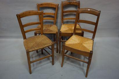Deux paires de chaises paillées en bois ...