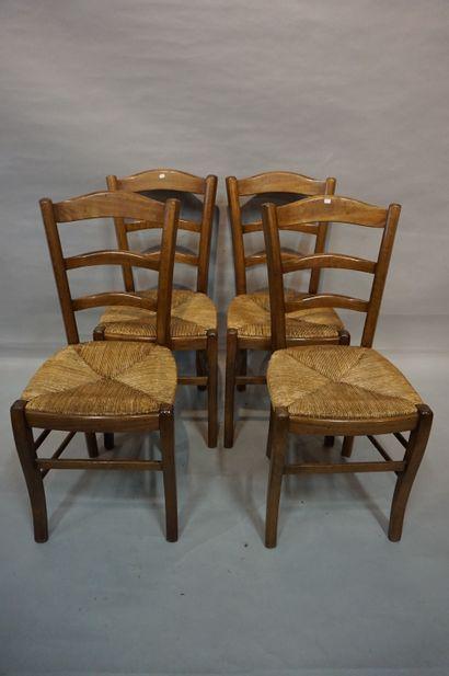 Suite de quatre chaises en bois naturel ...