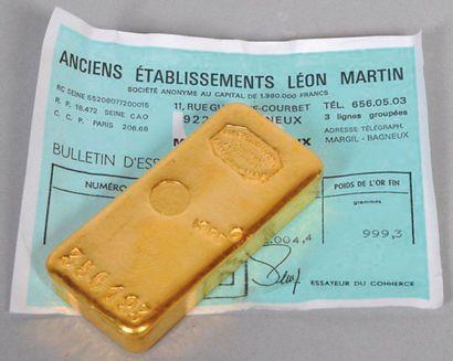 Lingot d'or avec certificat