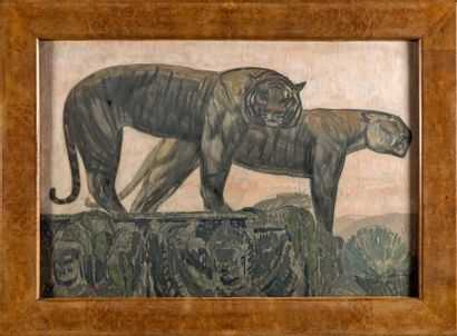 Paul JOUVE (1878-1973) «Deux tigres sur les remparts, citadelle de Hué» circa 1922....