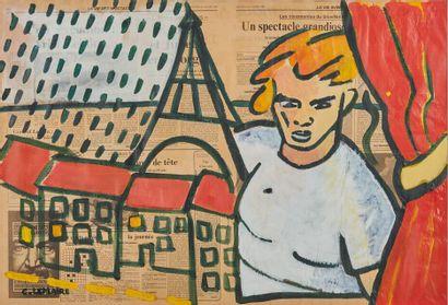 Caroline LEMAIRE (1955).  Rideau ouvert sur...