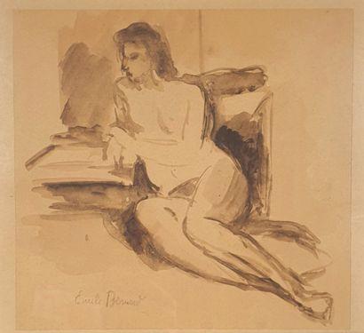 Emile Henri BERNARD (1868-1941).  Nu allongé....