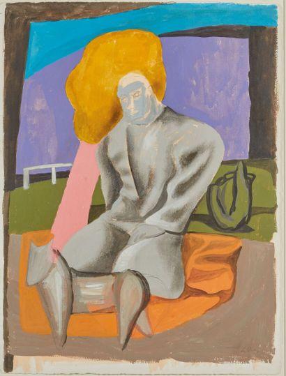 Sandro CHIA (1946).  Homme et chien.  Gouache...