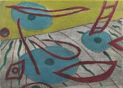 Henri GOETZ (1909-1989).  Composition.  Lithographie,...