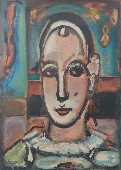 Georges ROUAULT (1871-1958).  Pierrot.  Aquatinte,...