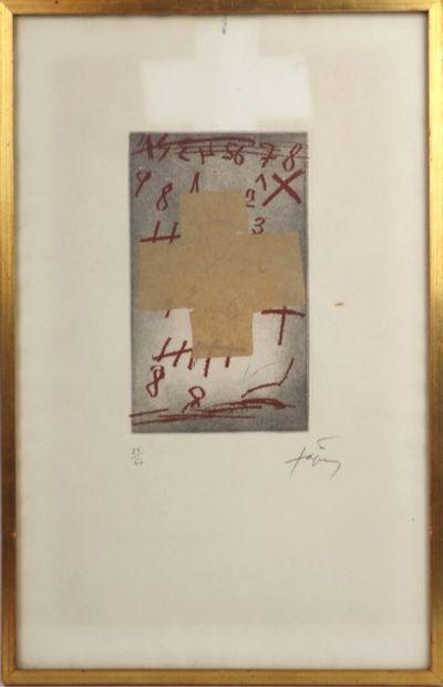Antoni TAPIES (1923-2012).  Croix sur chiffres....