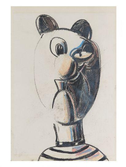 George CONDO (1957).  Tête de chat.  Crayon...