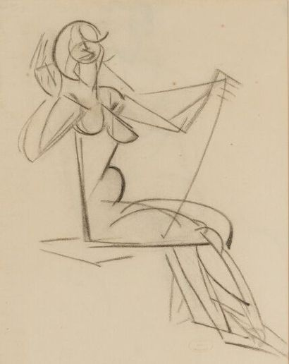 Marie VASSILIEFF (1884-1957).  Femme.  Fusain...