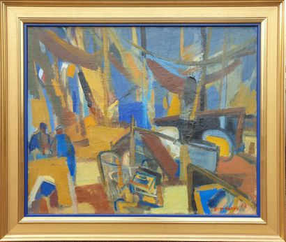 Jean CORNU (1915-2009).  Chantier naval....