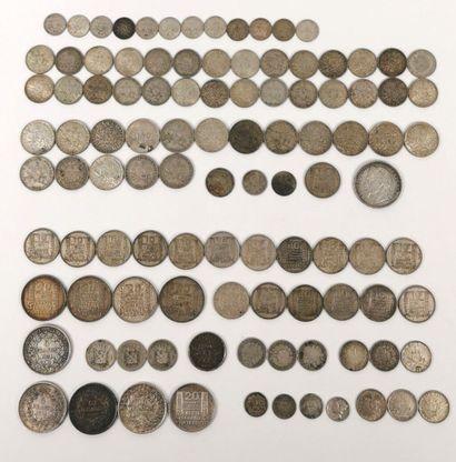 Ensembe de pièces en argent.  836 grammes...