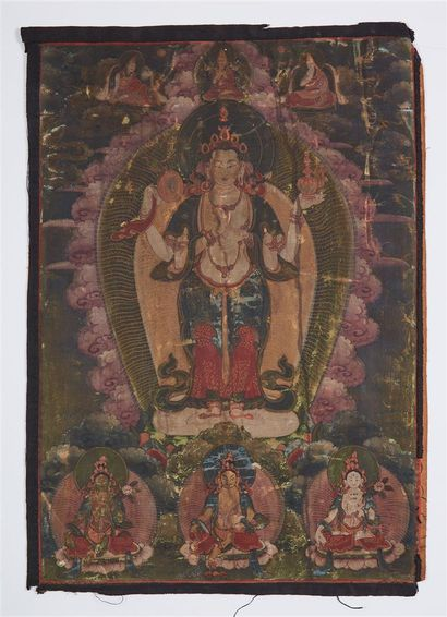 TIBET, XIXème siècle.  Thangka à l'encre...