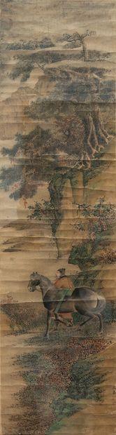 CHINE.  Peinture sur soie figurant un cavalier...