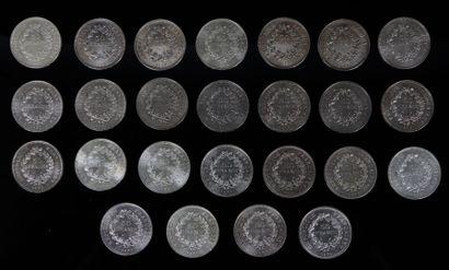 Ensemble de 25 pièces de 50 francs Hercule...