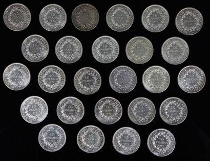 Ensemble de 26 pièces de 10 francs en argent...
