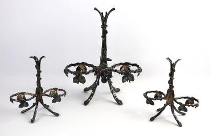 BOULENGER.  Trois montures en bronze argenté,...