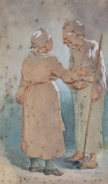 Paul GAVARNI (1804-1866).  Causerie.  Aquarelle,...