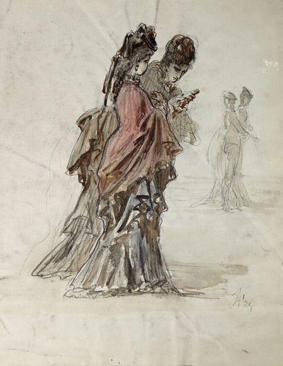 Ecole française du XIXème siècle.  Elegantes....