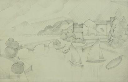 André LHOTE (1885-1962).  Paysage au pont....