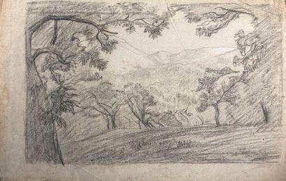 Ecole française du XIXème siècle.  Paysage,...